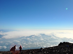 Finally, we reached the top of Mt Fuji in Japan