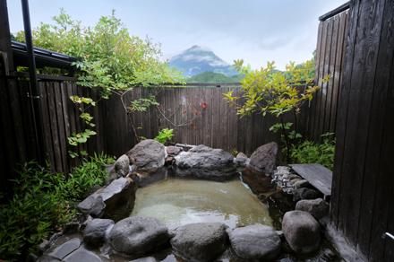 Private Open Air Bath at Hotaru with Mt Fuji in the background