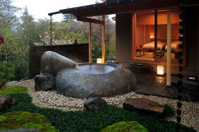 Private Stone Bath at Gora Kadan Ryokan