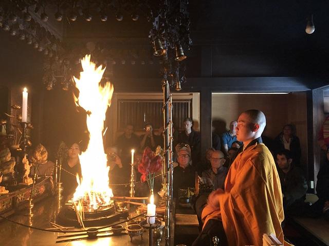 Fire ceremony at a shukubo in Koyasan