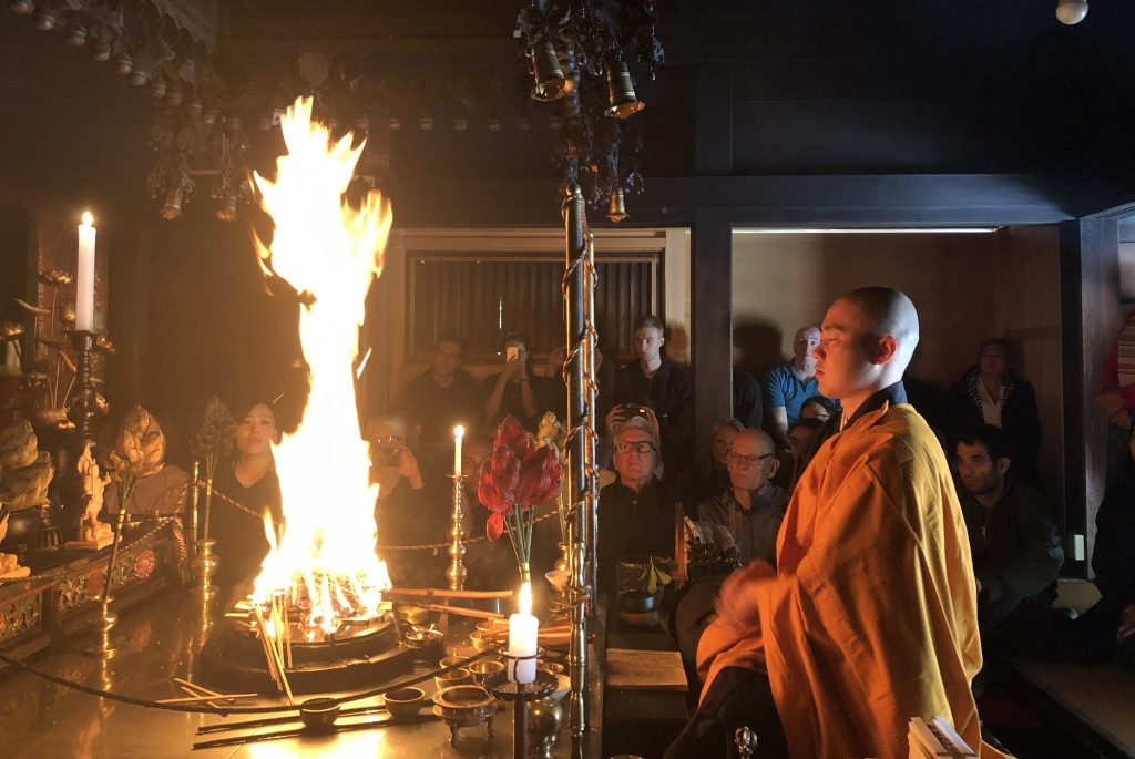 Buddhist Monk Performing their morning services.